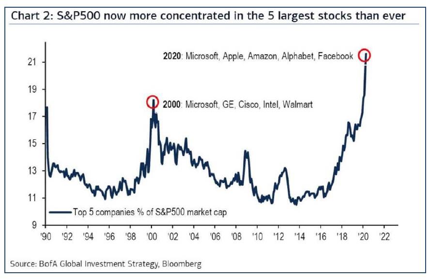 Koncentrace indexu SP500 do 5 nejvetsich akcii